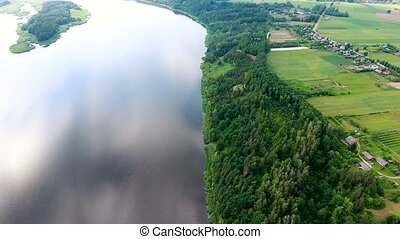 beautiful river with green banks - beautiful aerial view of...