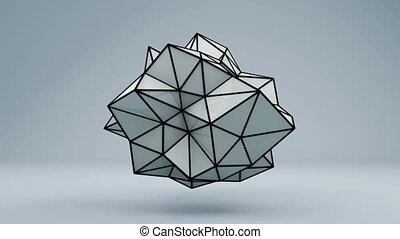 Polygonal 3D shape in studio. Loop