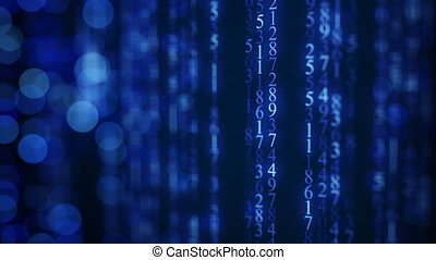 Blue digital matrix rain on screen. Seamless loop animation