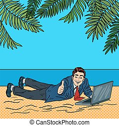 Businessman Relaxing on the Beach. Man on Tropical Vacation with Laptop. Pop Art Vector illustration