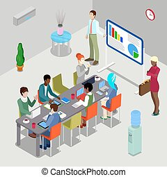 Isometric Conference Room Business Presentation with People. Vector illustration