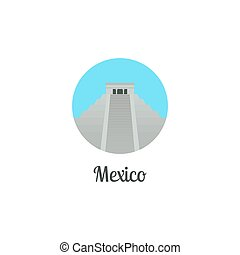 Mexico landmark isolated round icon Vector illustration