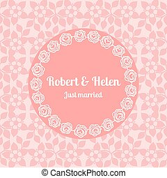 Just married wedding floral card template - Just married...