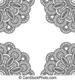 Boho doodle hand drawn frame Vector illustration