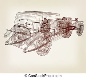 3d model retro car. 3D illustration. Vintage style.