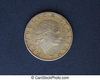 italiano, lira, (ITL), moneda, moneda, de, Italia, (IT)