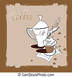 a cup of coffee - Retro stylized template with a cup of...