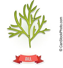 Leaves of dill. Isolated on white background. Herb with...