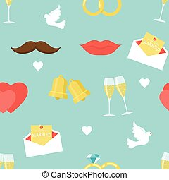 Flat Wedding Pattern - Seamless background flat wedding...