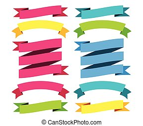 Colorful Modern Ribbons Big Set. Different Shapes. Vector Isolated Illustration
