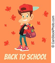 Schoolboy character with backpack Back to school Vector flat...