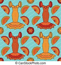 Seamless flamenco pattern, vector illustration