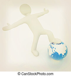 3d man and earth Global business concept: the whole earth at...