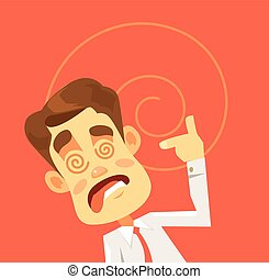 Crazy man character. Hard work. Vector flat cartoon...