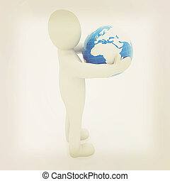 3d man and earth 3D illustration Vintage style