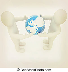 3d mens around the earth kindly make contact 3D illustration...