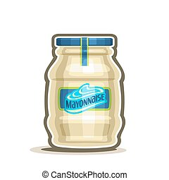 Vector logo Big Jar Mayonnaise, conserved container with...