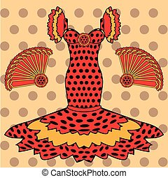 Flamenco greeting card, vector illustration
