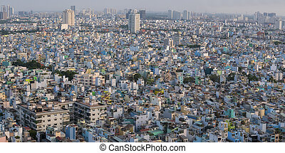 Ho Chi Minh City aerial view during the day with residential...