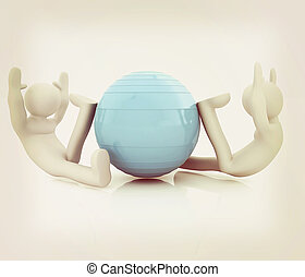 3d man exercising position on fitness ball My biggest...