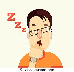 Man character yawning Vector flat cartoon illustration