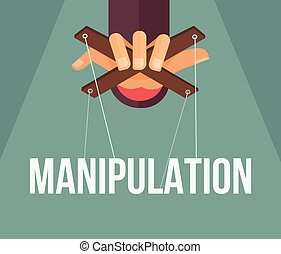 Manipulation hand Vector flat cartoon illustration