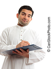 Ethnic businessman writing - Ethnic arab mixed race...