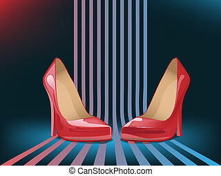 high heel shoes - vector red woman shoes on blue background