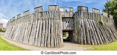 Trelleborg Viking Fort - A panoramic image of a...