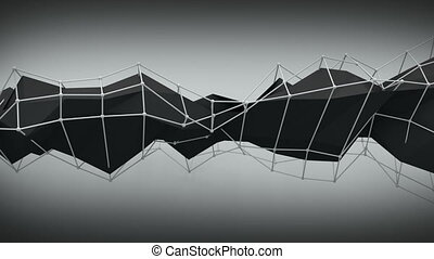 Polygonal black contruction. Abstract 3D render animation...