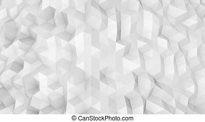 White polygonal surface 3D render seamless loop - White...