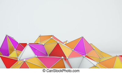 Bright low poly shape 3D render loop