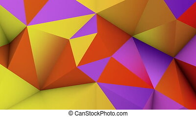 Vivid color low poly surface. Abstract 3D render loop -...