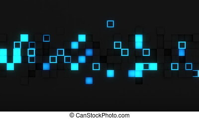 Glowing extruded cubes 3D render loopable animation -...