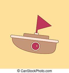 flat icon on background Kids toy boat