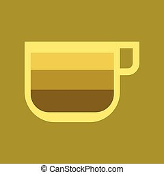 flat icon on background coffee cup latte macchiato - flat...