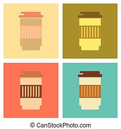 assembly flat icons coffee to go caffeine - assembly of flat...