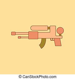 flat icon on background Kids toy water gun - flat icon on...