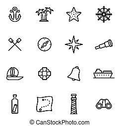Vector line nautical icon set