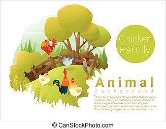 Cute animal family background with Chickens 2 - Cute animal...