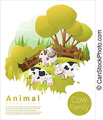 Cute animal family background with Cows 2 - Cute animal...
