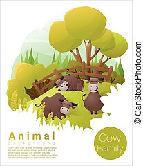 Cute animal family background with Cows 3 - Cute animal...