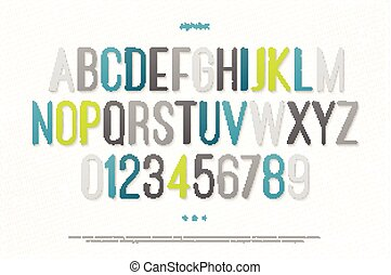 high drawn - modern alphabet letters and numbers vector font...
