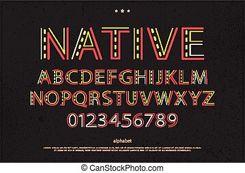 native - old style alphabet letters and numbers on paper...
