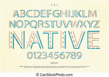 grunge native - old style alphabet letters and numbers on...