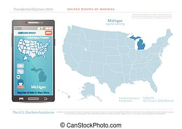 michigan - United States of America maps and Michigan state...