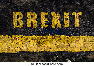 Grungy Yellow Brexit Road Markings - Grungy British Road...