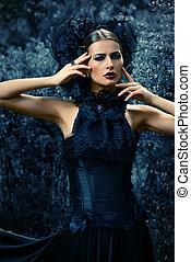 fantasy heroine - Gothic brunette woman in long black dress...