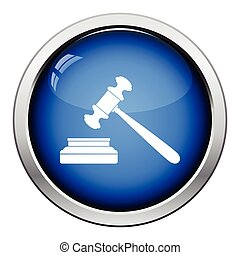 Judge hammer icon Glossy button design Vector illustration...