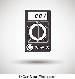 Multimeter icon on gray background with round shadow Vector...